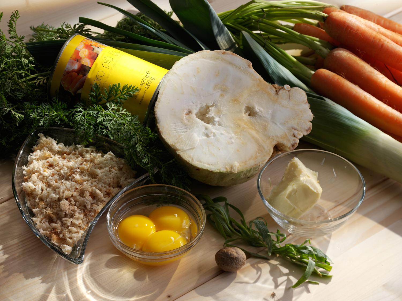 Zutaten zu Gemüsekuchen