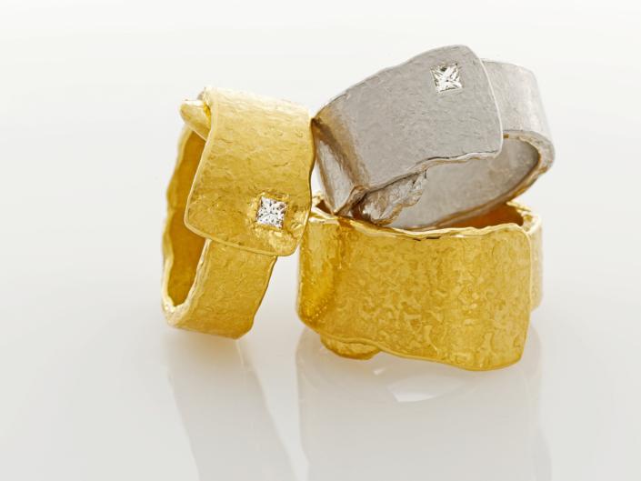 Schmuckfotografie, Gold/Platin Ringe mit Diamanten